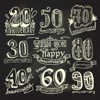 Anniversary signs chalkboard set vector