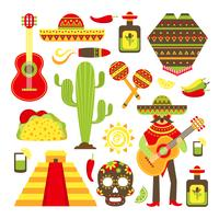 Mexico decorative icons set vector