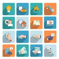 Los iconos de la factura de pago conjunto plano