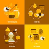 Icone di miele di ape piatte