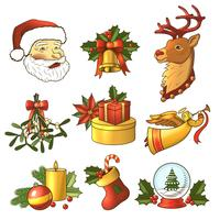 Christmas icons colored set