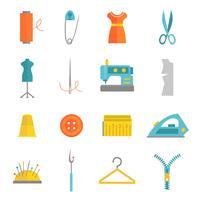 Iconos de equipos de costura establecidos planos
