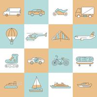 Transport icons flat line set vector