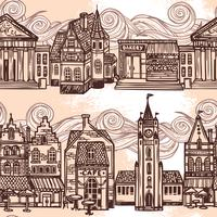 Sketch city seamless border black and white