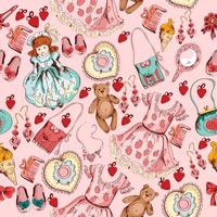 Little girl accessories seamless pattern