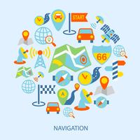 Mobiele navigatiepictogrammen plat