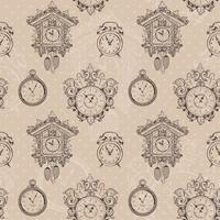 Old vintage clock seamless pattern
