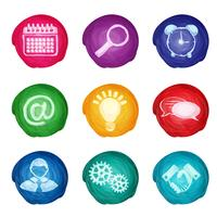 Watercolor business icons round