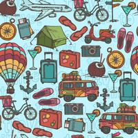 Travel sketch seamless pattern vector