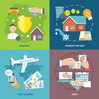 Los iconos de la factura de pago conjunto plano vector