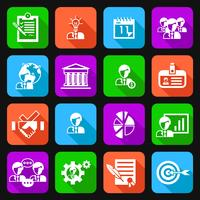 Business management icons flat