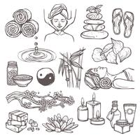 Spa sketch icons vector