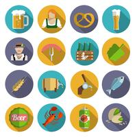 Conjunto de iconos de cerveza plana