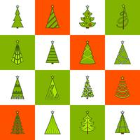 Christmas Tree Flat Line Icons