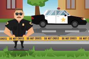 Policial e carro de patrulha