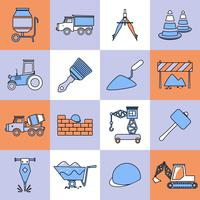Construction icons set flat line