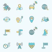 Ligne plate d'icônes de navigation mobile