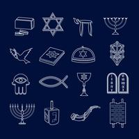 Judaism icons set outline