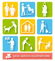 Social services icons set flat
