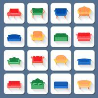 icônes de canapé à plat