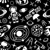 Space black and white seamless pattern