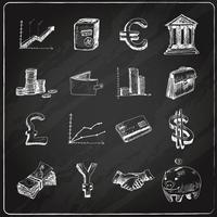 Finance icons set chalkboard