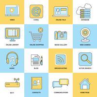 Línea plana de iconos de Internet
