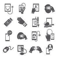 Mobile health icons set black