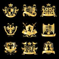Emblemas dourados heráldicos
