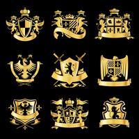 Emblemas heráldicos dorados.