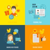 Sociala ikoner platt uppsättning