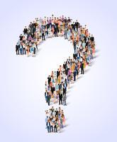 Cartaz de pergunta do grupo de pessoas