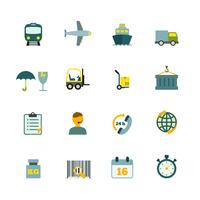 Logistic icons set flat