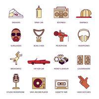 Conjunto de iconos de música rap
