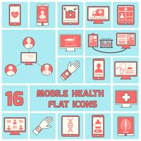 Mobile health icons set flat line