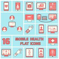 Mobile Gesundheitsikonen stellten flache Linie ein