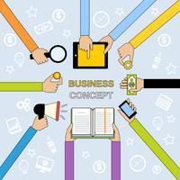 Manos de negocios de linea plana
