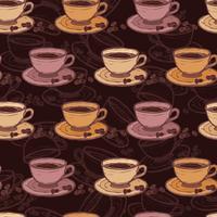 Esboço de café sem costura padrão