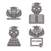 Owls in graduation caps set