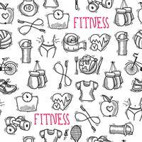 Fitness skiss svart och vitt sömlöst mönster