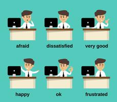 Conjunto de emociones de empresario