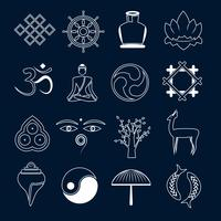 Buddhism icons set outline