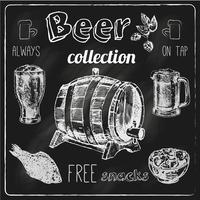 Conjunto de pizarra de iconos de cerveza