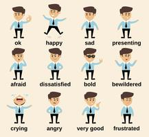 Businessman emotions set