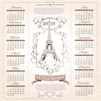 Retro Calendar for 2015 vector
