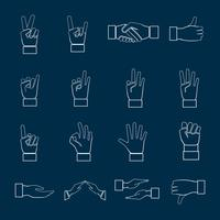 Hands Icons Set Outline