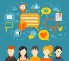 Concepto de redes sociales