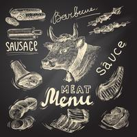 Conjunto de pizarra de carne