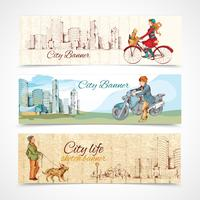 Urban people horizontal banners sketch colored
