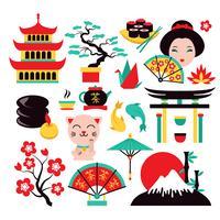 Japanische Symbole gesetzt